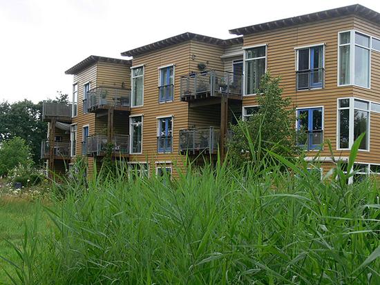vue du quartier Lanxmeer avec beaucoup de végétation